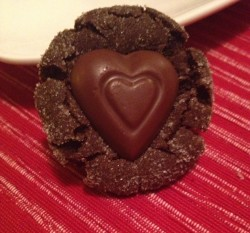 Valentine Chocolate Peanut Butter Kiss Cookies